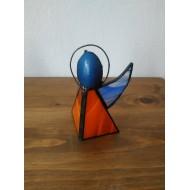 Anděl Vitráže Tiffany oranžovo- modrý