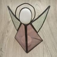 Anděl Vitráže Tiffany průhledné sklo fialovorůžový