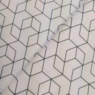 Bavlna hladká velká geometrie černá na bílé