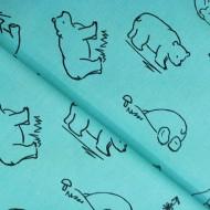 Bavlna hladká medvědi černí na mintové